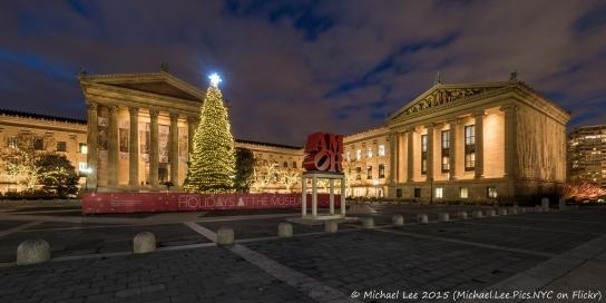 Christmas scene at the Philadelphia Museum of Art