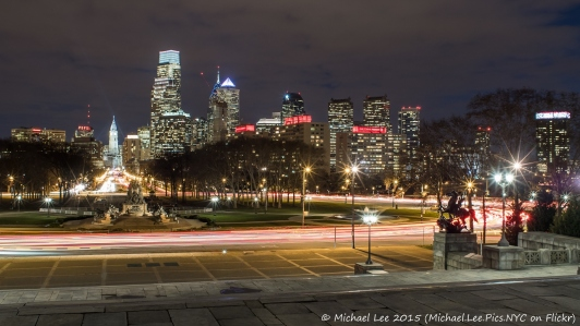 Traffic around Eakins Oval as seen from the steps of the Museum of Art