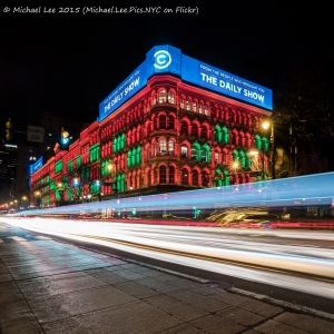 Christmas colors on the Lit Brothers Building