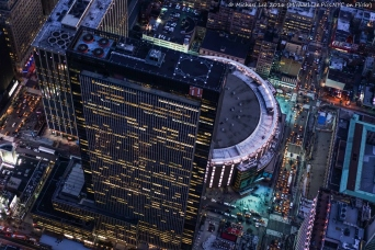 Aerial Madison Square Garden and 1 Penn Plaza
