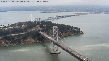 East and west spans of the Bay Bridge meet at Yerba Buena Island