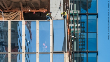 Curtain wall installation on the south facade of 35 Hudson Yards