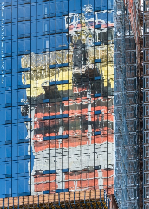 Reflection of 35 Hudson Yards on the north facade of 15 Hudson Yards