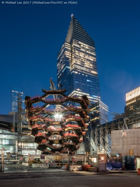 Twilight view of Vessel, The Shed and 10 Hudson Yards