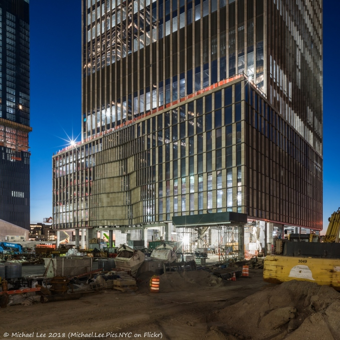 View of 35 Hudson Yards from the 33rd Street construction fence