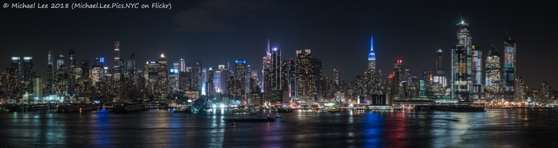 Panoramic night view from Weehawken, NJ