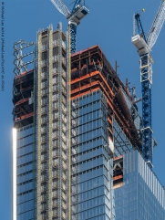 View of 30 Hudson Yards with part of the observatory level installed