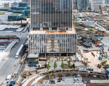 Podium level of 35 Hudson Yards and future Public Square and Gardens viewed from 15 Hudson Yards