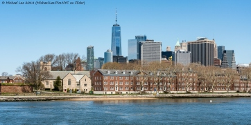 Governors Island and Lower Manhattan viewed from Water Taxi to Red Hook