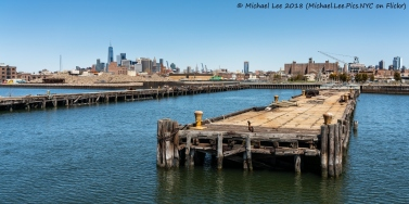 Red Hook and Lower Manhattan viewed from Water Taxi to Wall Street