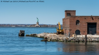 Red Hook and Statue of Liberty viewed from Water Taxi to Wall Street