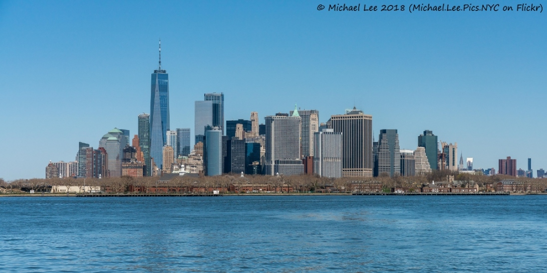 Governors Island and Lower Manhattan viewed from Water Taxi to Wall Street