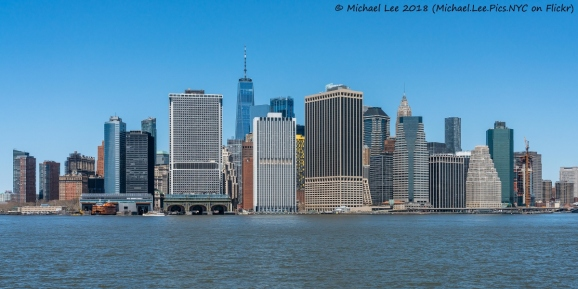 Lower Manhattan viewed from Water Taxi to Wall Street