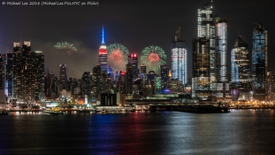 July 4 fireworks on the East River viewed from Weehawken, NJ